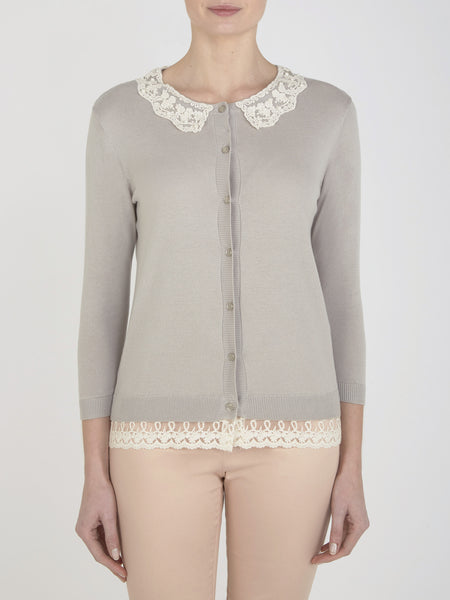 Pale Grey Hyacinth Collar Cardigan