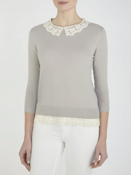 Pale Grey Buttercup Collar Jumper