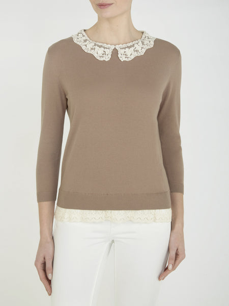 Taupe Buttercup Collar Jumper