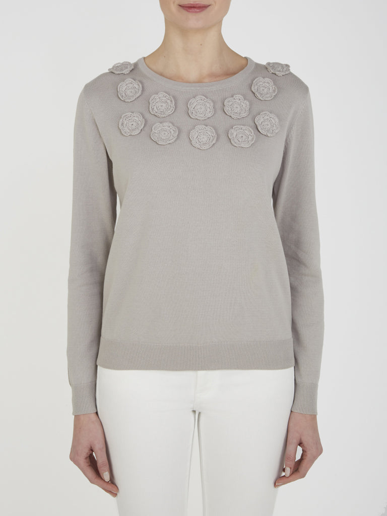 Pale Grey Silene Embroidered Jumper