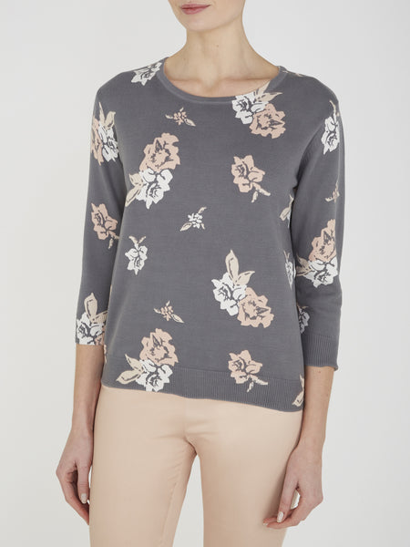 Charcoal Wisteria Printed Jumper