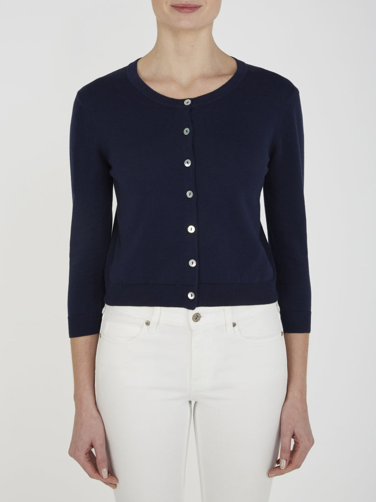Dark Navy Tansy Cropped Cardigan