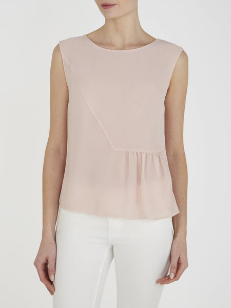 Nude Pink Hibiscus Shell Top