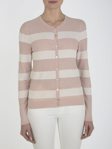 Nude Pink Freesia Striped Cardigan