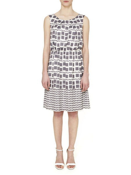Charcoal Marylebone Tile Print Dress - Nougat London - 1