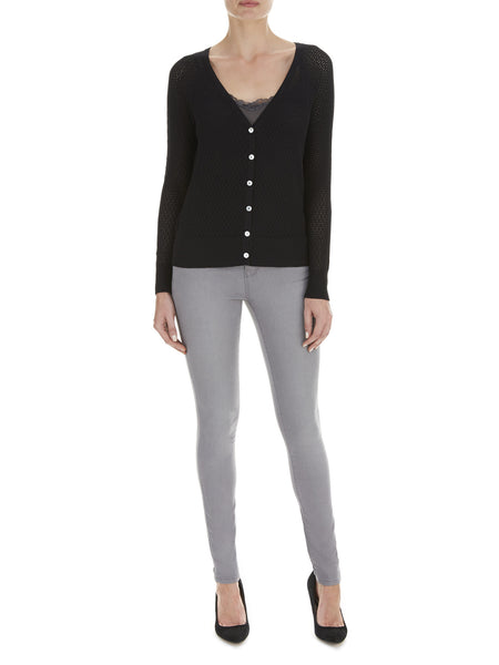 Black Iris Pointelle Cardigan - Nougat London - 1