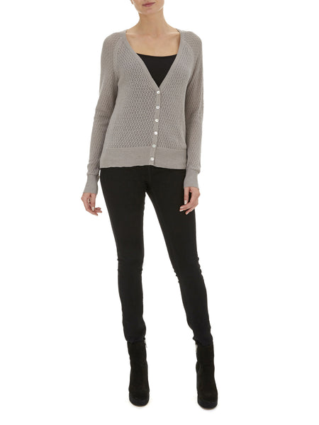 Grey Iris Pointelle Cardigan - Nougat London - 1