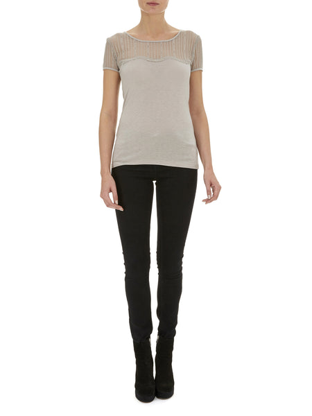 Pale Grey Daisy Lace T-Shirt - Nougat London - 1