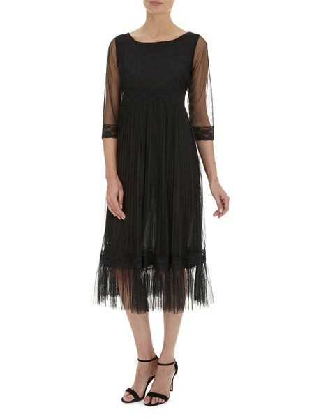 Black Petunia Lace Frill Dress - Nougat London - 1