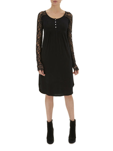 Black Rose Lace Sleeve Dress - Nougat London - 1