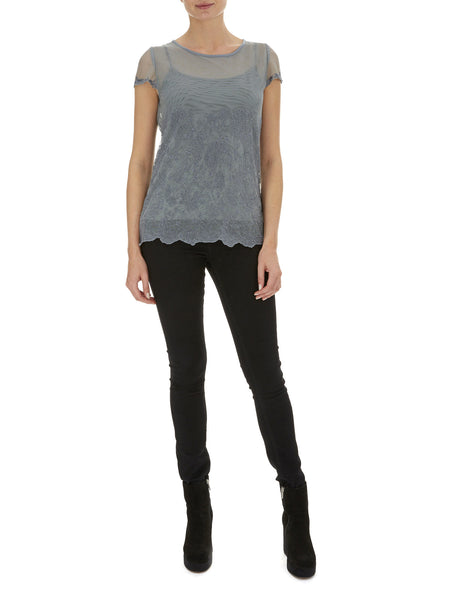 Charcoal Lily Embroidered T Shirt - Nougat London - 1