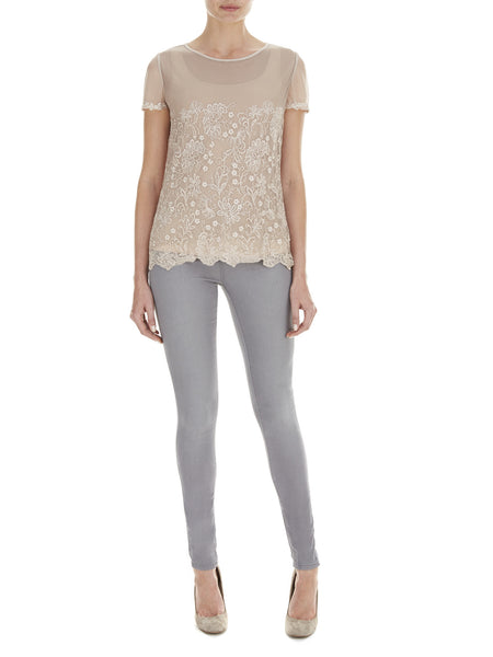 Oatmeal Lily Embroidered T-Shirt - Nougat London - 1