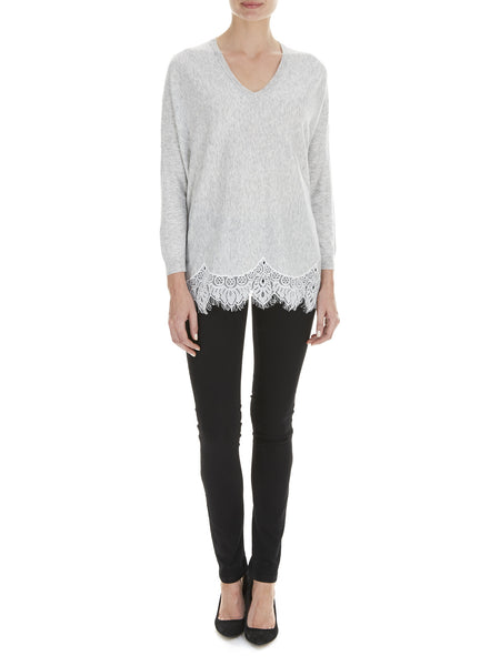 Grey Azalea Lace Hem Jumper - Nougat London - 1