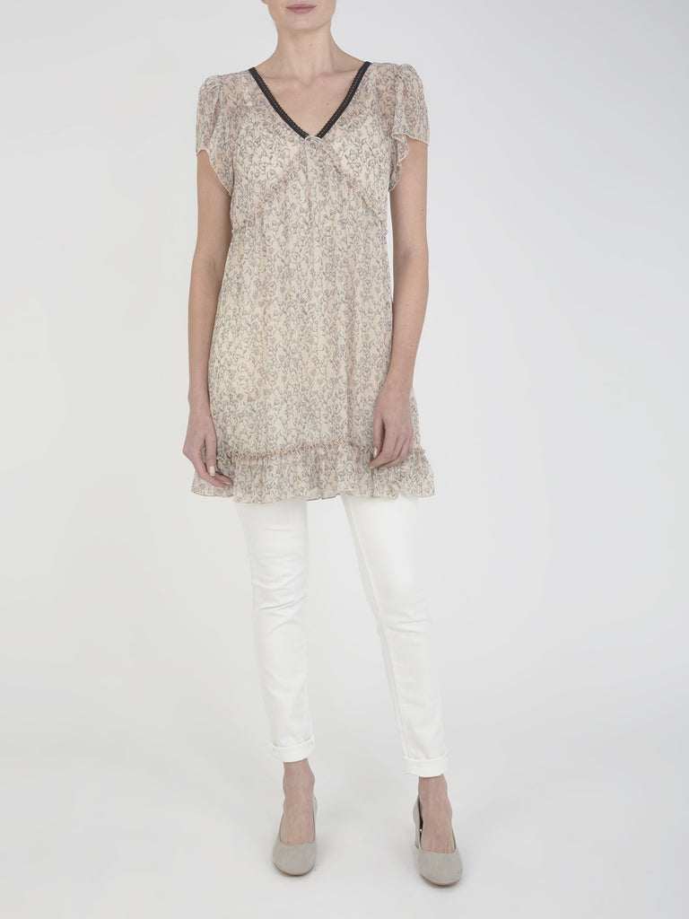 Oatmeal Aster Printed Tunic