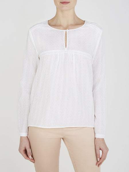 White Begonia Cotton Blouse