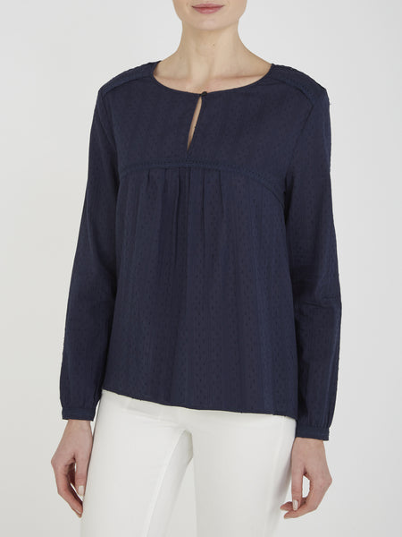 Dark Navy Begonia Cotton Blouse