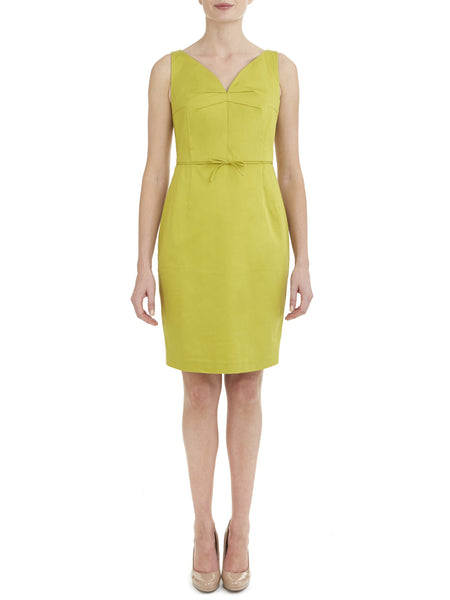 Chartreuse V Neck Stretch Dress - Nougat London - 1