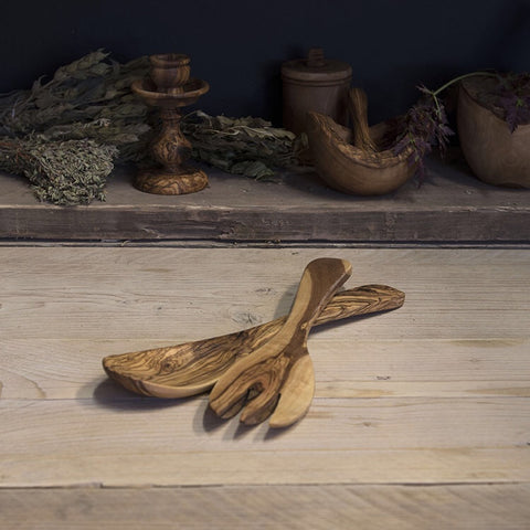 Olive wood salad servers (spoon and fork)