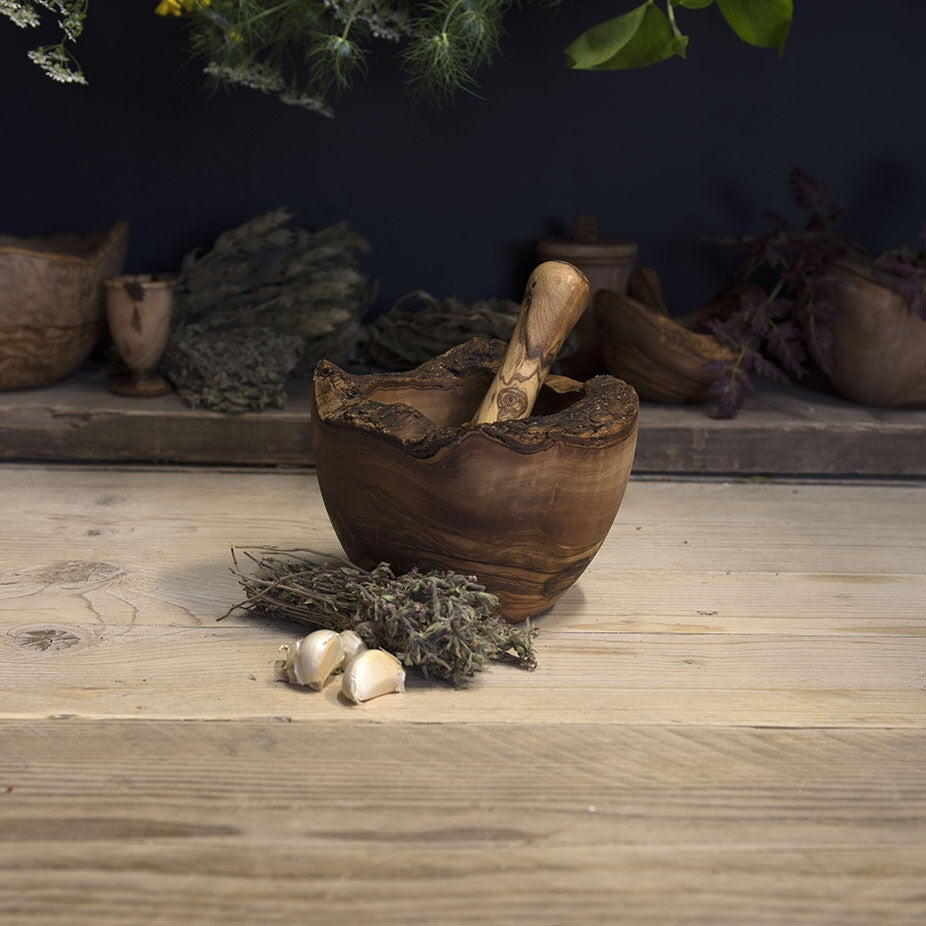 Olive wood pestle and mortar (rustic edge) - Be Natural Products