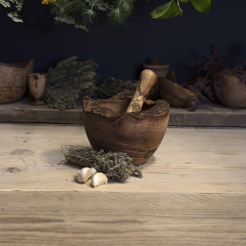 Olive wood pestle and mortar (rustic edge)