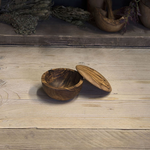 Olive wood sugar/salt bowl with lid