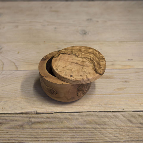 Olive wood pot with twist magnetic lid