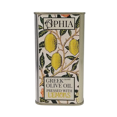 Lemon infused olive oil in metal tin