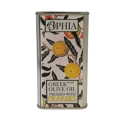 Greek orange infused olive oil in metal tin