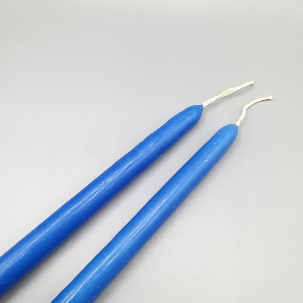 Blue Tapered Candles x 2