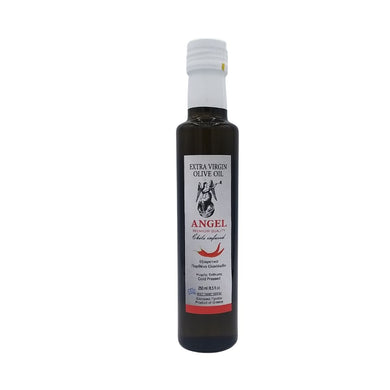 Chilli infused olive oil from Greece in a dark bottle