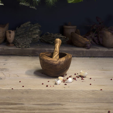 Olive wood pestle and mortar (smooth edge) - Be Natural Products