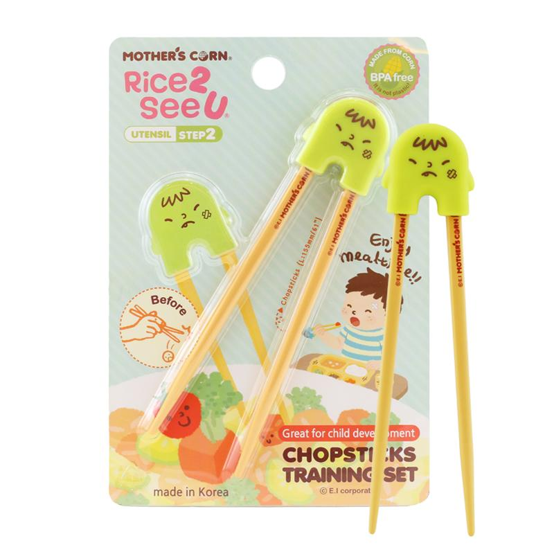 Mother's Corn Chopsticks Training Set Green