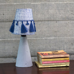 NAVY EMBROIDERED TASSEL TABLE LAMP