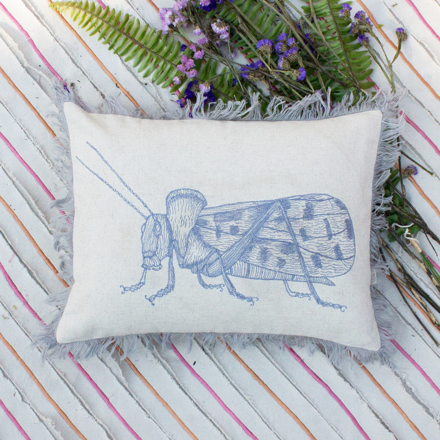 GREY BUG CUSHION COVER