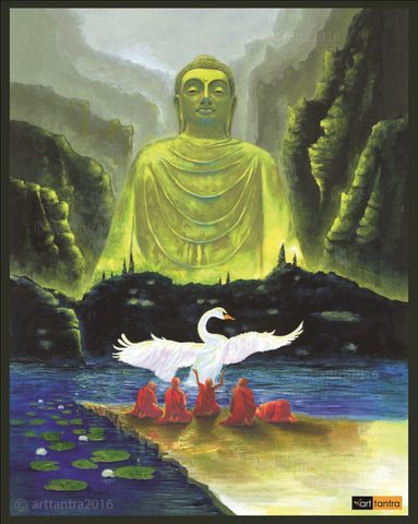 Green Buddha & Monks with Swans art tantra Painting