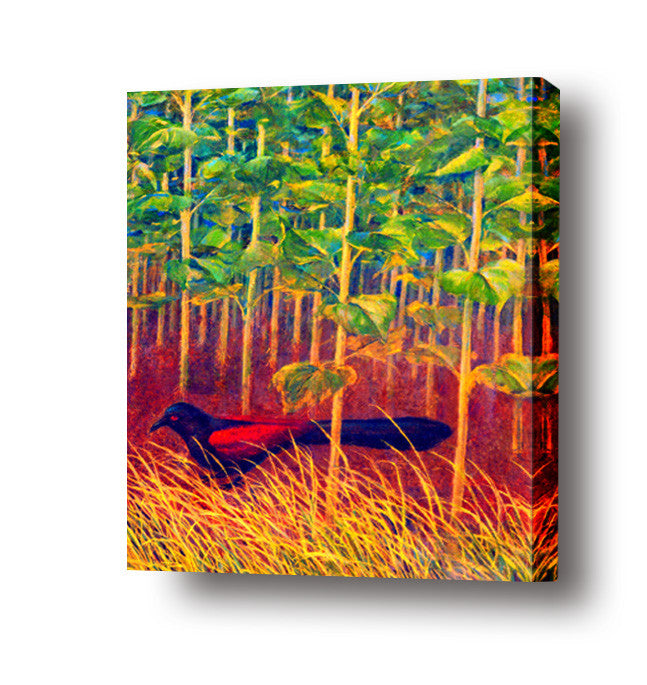 Bird in the grass stretched canvas arts prints
