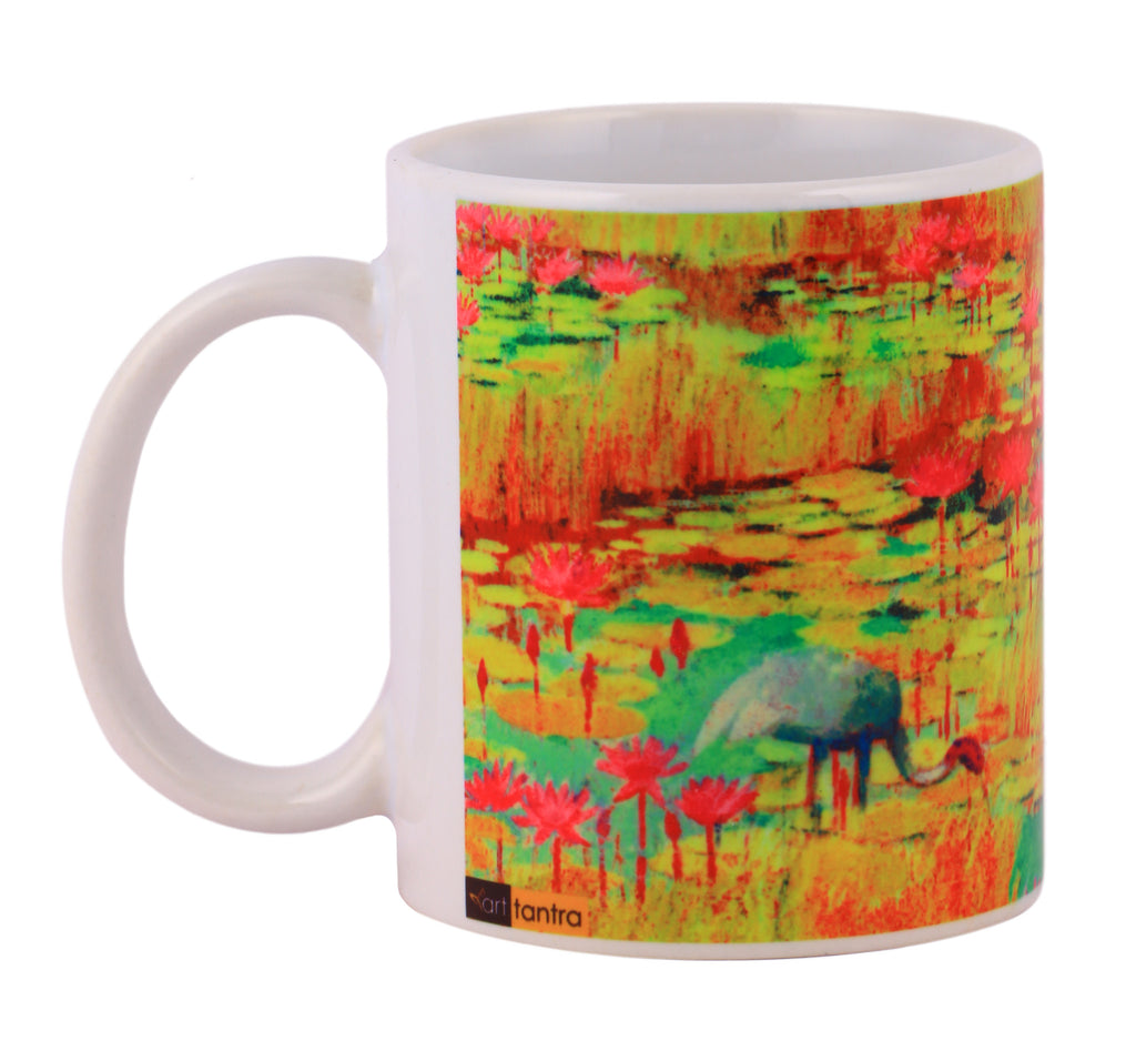 Waterlilly in yellow pond mugs arts prints