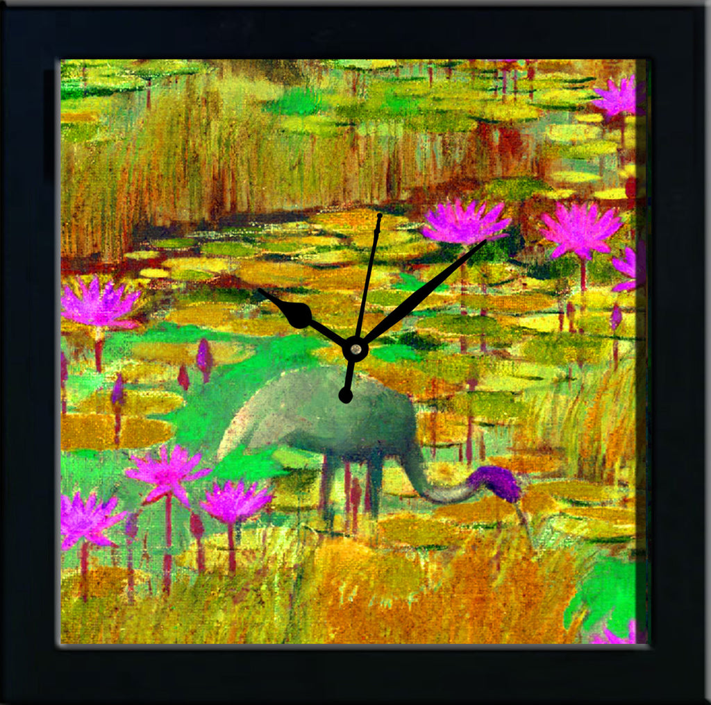 Waterlilly in yellow pond wall clocks arts prints