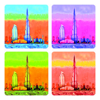 Burj Khalifa & Atlantis coaster arts prints