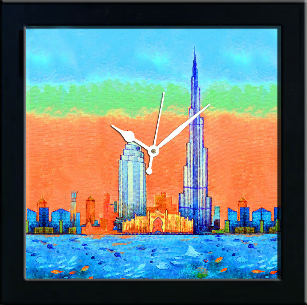 Burj Khalifa & Atlantis wall clocks arts prints