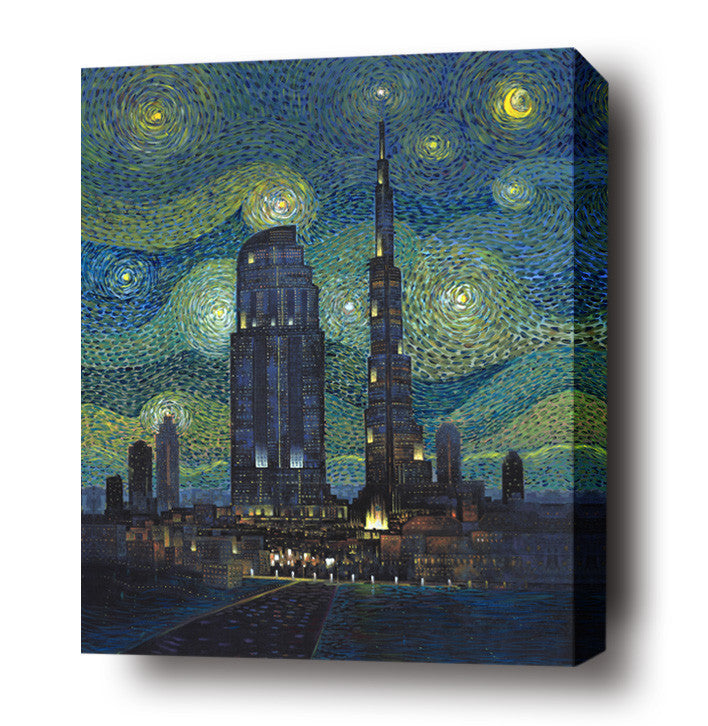 Starry night at Dubai stretched canvas arts prints