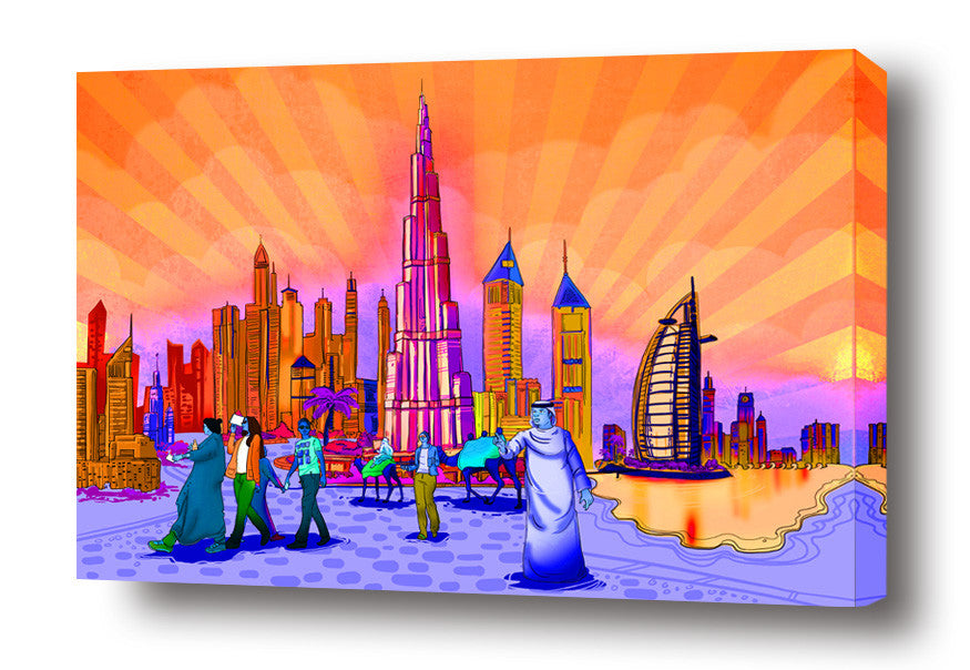 Dubai Illustration stretched canvas arts prints