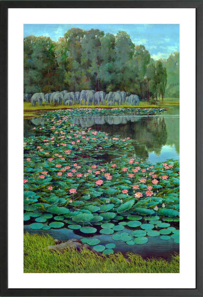 Elphants at the lake arts prints