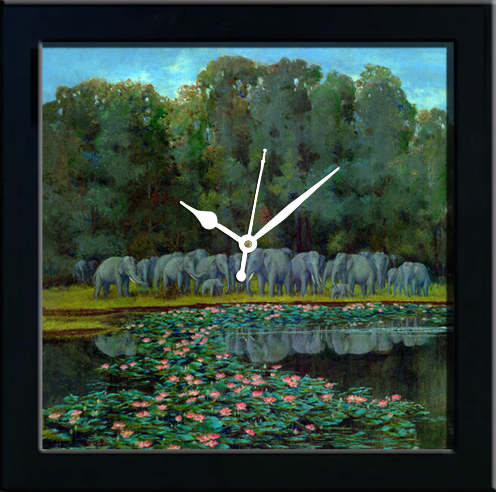 Elphants at the lake wall clocks arts prints
