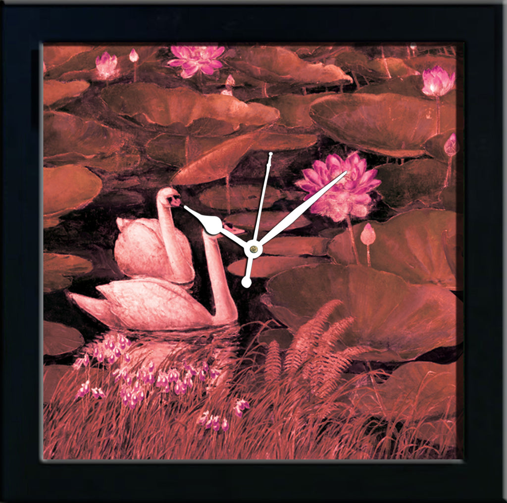 Swans wall clocks arts prints