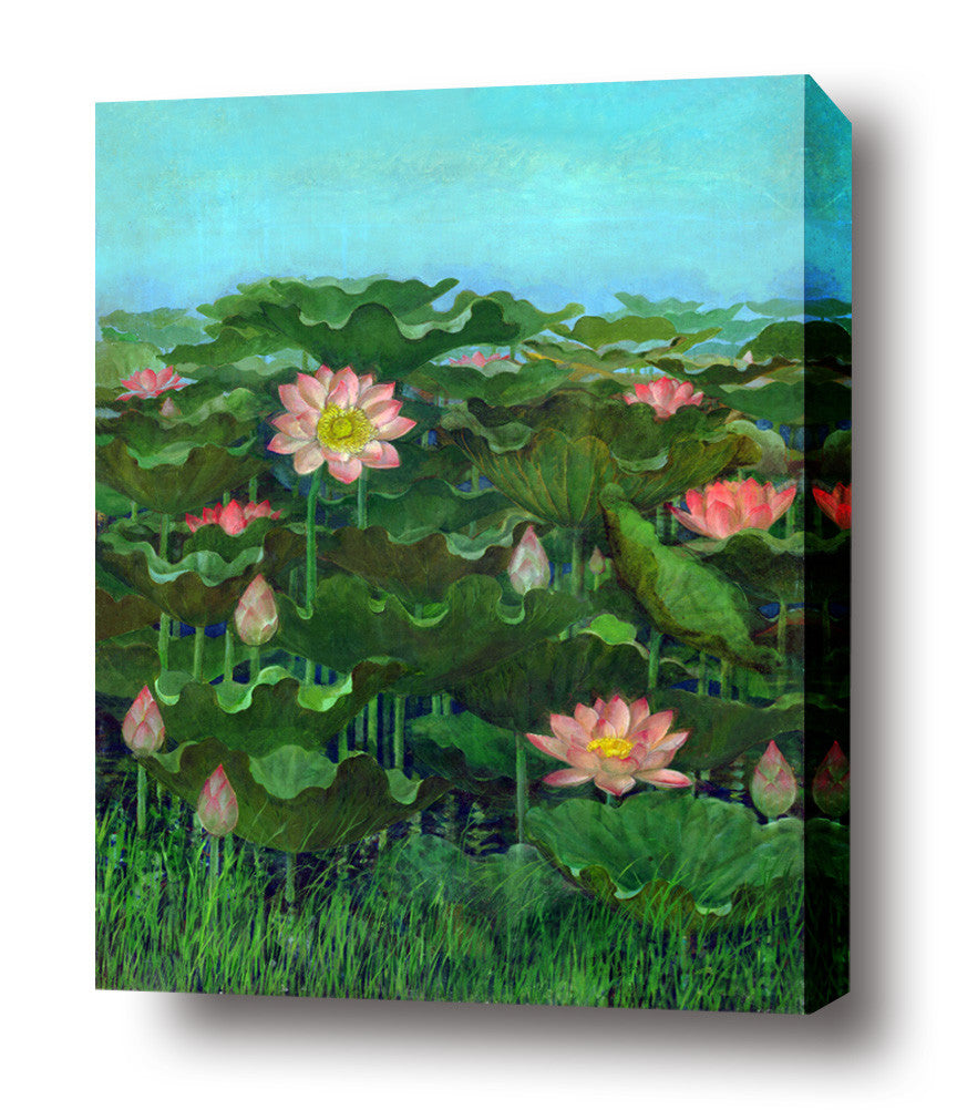 Pink Lotus stretched canvas arts prints