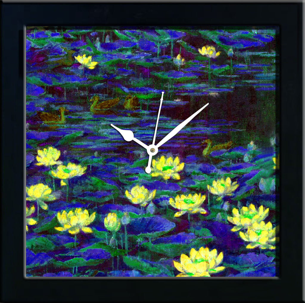 Waterlilly in blue pond wall clocks arts prints