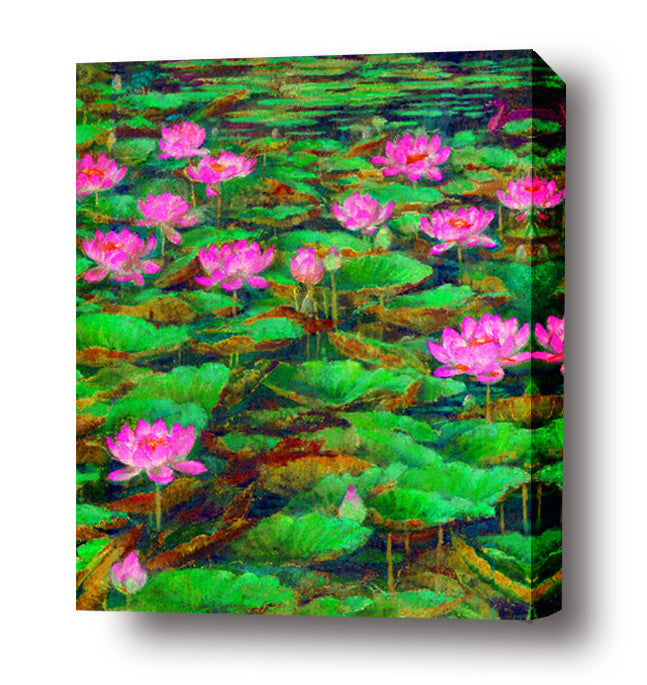 Waterlilly in green pond stretched canvas arts prints