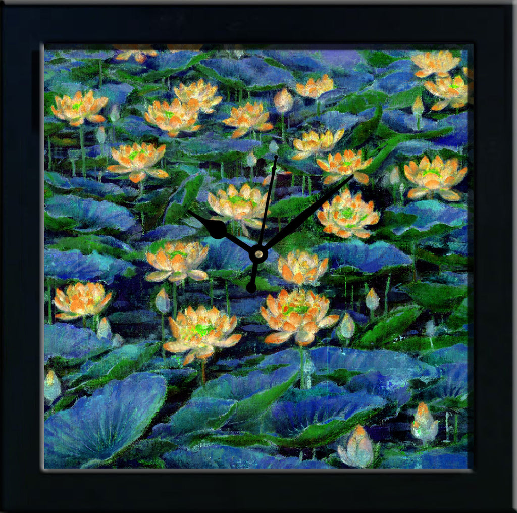 Waterlilly in blue water wall clocks arts prints