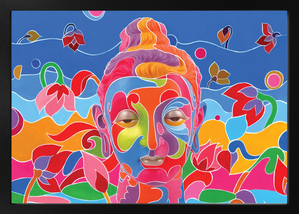 Buddha Head in Lotus stretched canvas arts prints